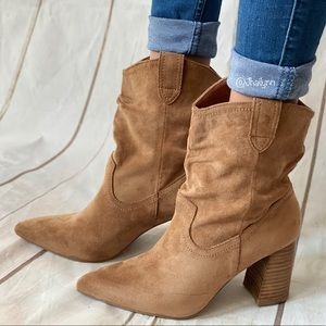 Western Faux suede Ankle bootie